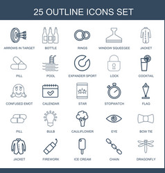 25 outline icons vector