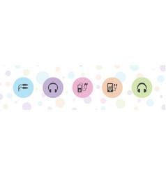 5 headphones icons vector