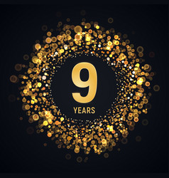 9 th years anniversary isolated design vector image