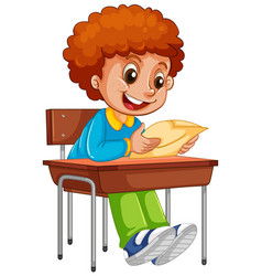 A boy reading paper on desk vector