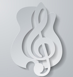 Abstract Music Treble Clef Cut from Guitar White vector