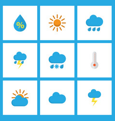 air icons flat style set with lightning cloudy vector image