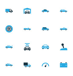 Auto colorful icons set collection of gear lever vector