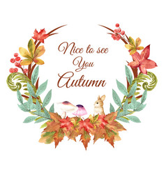 Autumn season wreath frame with leaves and animal vector