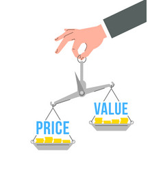 Balance scales with words price and value vector