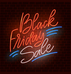 Black friday sale neon sign vector