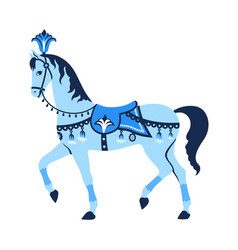 blue carousel horse vector image