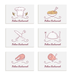 Business cards set with doodle food logos Hand vector