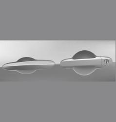 Car door handle with lock and key hole auto design vector