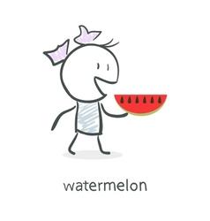 Cartoon girl and watermelon vector image