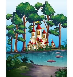 Castle towers in forest vector