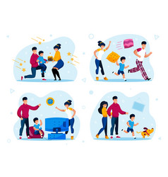 child birthday party kids discipline set vector image