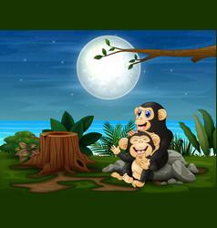 Chimpanzee having fun at night landscape vector