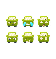 collection of car emoticons cute green car vector image