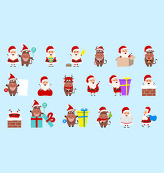 collection oxes and santa clauses christmas vector image