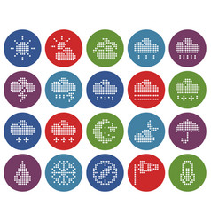 collection round dotted icons weather vector image
