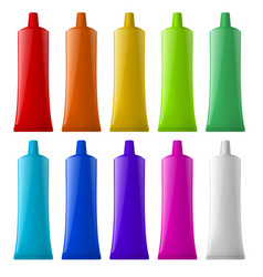 Colorful tubes on white background for design vector