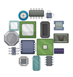 computer chips icons set cartoon style vector image