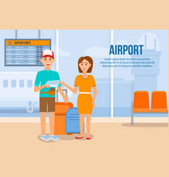 Couple traveling with luggage by airplane holiday vector
