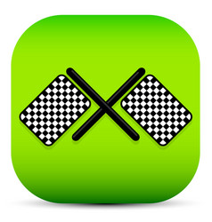 crossed racing flag icon - racing flag icon vector image