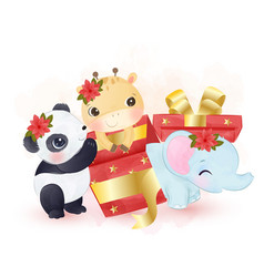 Cute animals playing with christmas gift box vector