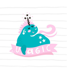 cute magic unicorn print ready childish label vector image