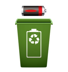 Dead battery green recycle bin vector
