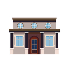 facade of light gray building with round and vector image