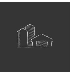 Farm buildings Drawn in chalk icon vector