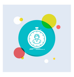 Fast speed stopwatch timer girl white glyph icon vector