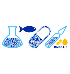 Fish omega-3 supplemets and medical glassware vector