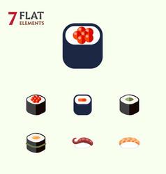 Flat icon salmon set of sashimi seafood salmon vector