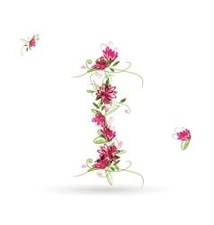 Floral letter I for your design vector
