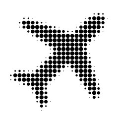 flying air liner halftone dotted icon vector image