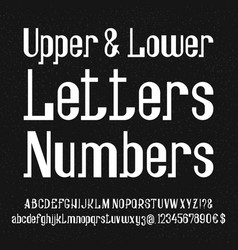 Font of white lowercase uppercase letters numbers vector