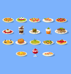 Food big set italian cusine dishes pizza pasta vector