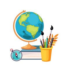 geography globe and writing tools set of school vector image