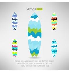 Geometrical surfboard designs set Surfing board vector