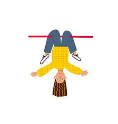 Girl woman upside down fun character vector