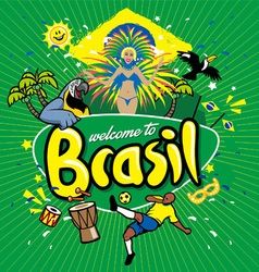 Greeting series welcome to brasil vector