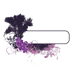 Grunge floral frame with tree vector