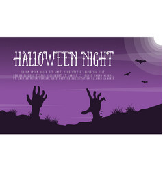 halloween night landscape with zombie vector image
