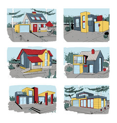 Hand drawn cottage modern private residential vector