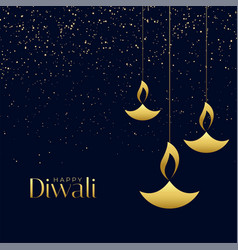 Hanging diya lamps with sparkles for diwali vector
