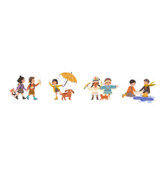 happy carefree children kids playing games vector image