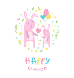happy child banner template pink mother and kid vector image
