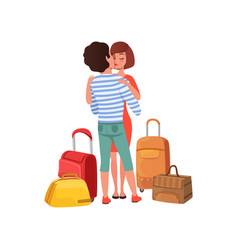 happy couple in love with travel bags man and vector image