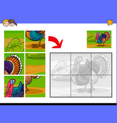 jigsaw puzzles with turkey animal character vector image
