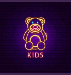 kids neon label vector image