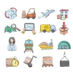 Logistics Sketch Icons Set vector image